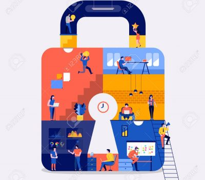 Illustrations flat design concept working space create online platform internet security. Create by small business people working inside. Vector illustrate.